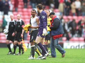Ashley Cole and Jens Lehmann (Arsenal) after the match