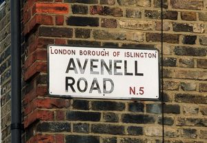 Avenell Road sign. Arsenal Stadium, Highbury, London, 27/2/04