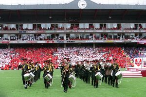 The Brass Band march around the pitch. Arsenal 4:2 Wigan Athletic