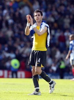 Cesc Fabregas (Arsenal) claps the fans at the end of the match