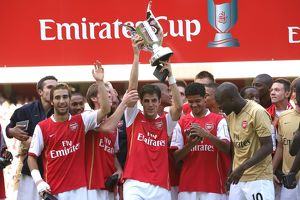 Cesc Fabregas (Arsenal) lifts the Emirates Trophy