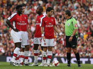 Cesc Fabregas (Arsenal) and referee Alan Wiley
