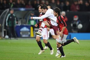 Cesc Fabregas shoots past Gennaro Gattuso and Andrea Pirlo to score the 1st Arsenal goal