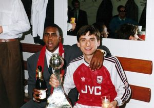 david rocastle and alan smith celebrate winning the