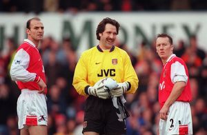 david seaman steve bould and lee dixon arsenal