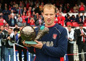 Dennis Bergkamp with the ITV goal of the season award (for his goal against Newcastle United in the