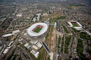 Emirates Stadium and Arsenal Stadium photographed from the a helicopter during the match