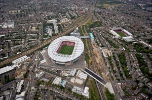 Emirates Stadium and Highbury photographed from the a helicopter during the match