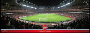 emirates stadium match in action behind goal