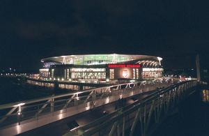 Emirates Stadium and the North Bank Bridge before the match