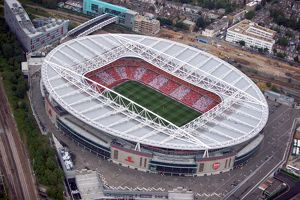 Emirates Stadium photographed from the a helicopter during the match
