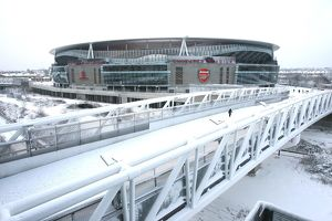Emirates Stadium under snow