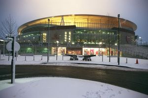 Emirates Stadium in the snow