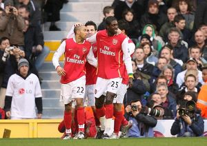 Emmanuel Adebayor celebrates scoring the 1st Arsenal goal with Gael Clichy