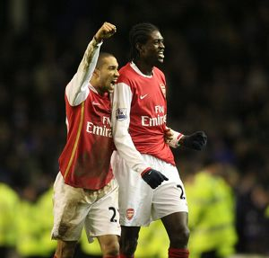 Gael Clichy and Emmanuel Adebayor (Arsenal) celebrate at the end of the match