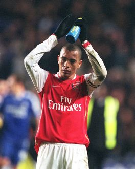 Gilberto (Arsenal) claps the fans at the end of the match