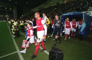 Gilberto (Arsenal) leads the team out before the match