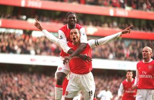 Gilberto celebrates scoring his 2nd and Arsenal's 3rd from the penalty spot with Emmanuel Adebayor. Arsenal 3:1 Tottenham Hotspur. FA Premiership. Emirates Stadium, London, 2/12/06. Credit: Arsenal Football Club /