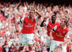 gilberto celebrates scoring arsenal goal with alex hleb