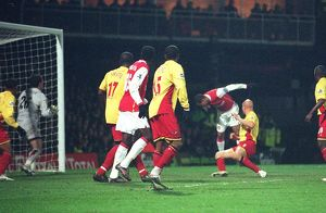 Gilberto heads past Watford goalkeeper Ben Foster to score the 1st Arsenal goal
