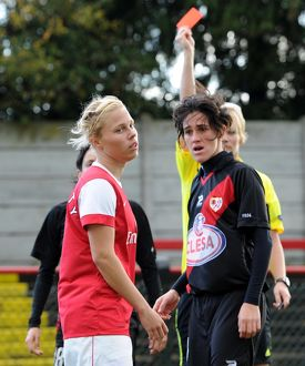 gilly flaherty arsenal is shown the red card