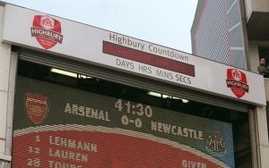 The Highbury Countdown clock on the jumbo tron. Arsenal 2:0 Newcastle United