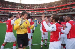 Jens Lehmann and Mathieu Flamini (Arsenal) before the match