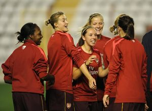 jordan nobbs and ellen white arsenal during the warm up