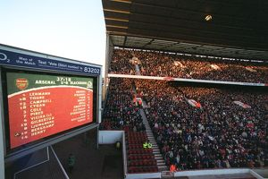 The Jumbo Tron in the North West corner and the North Bank Stand