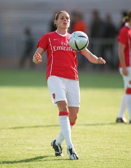 kelly smith arsenal warms up before the match