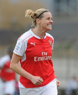 kelly smith celebrates scoring arsenal ladies