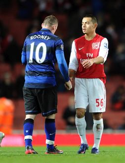 nico yennaris arsenal shakes hands with wayne rooney