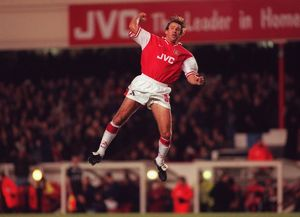 paul merson arsenal celebrates scoring a goal