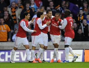 robin van persie celebrates scoring arsenals 1st goal