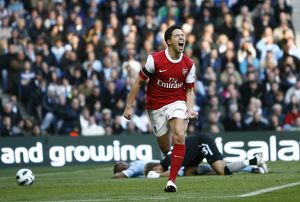 sami nasri shoots celebrates scoring the 1st arsenal goal