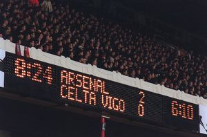 The scoreboard. Arsenal v Celta Vigo. UEFA Champions League