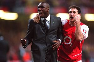 Sol Campbell and Martin Keown celebrate after the match