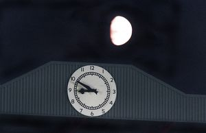 The South Stand Clock and the Moon. Arsenal 3:0 Blackburn Rovers