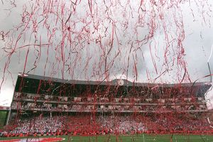 Streamers fall across the Clock End Final Salute Ceremony