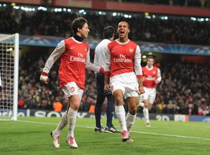 theo walcott celebrates scoring the 2nd arsenal goal