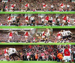 Thierry Henry breaks past Matthew Etherington on his way to scoring the 1st Arsenal goal