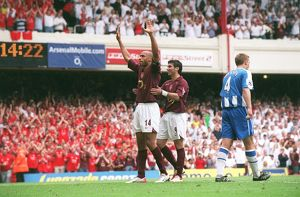 Thierry Henry celebrates scoring Arsenal's 4th goal his 3rd with Jose Reyes
