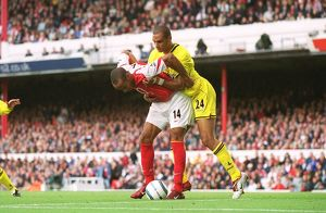 Thierry Henry scores his 1st goal (Arsenal's 2nd) under pressure from Jonathan Fortune