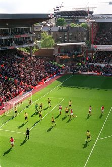 View from the East stand at Highbury with new stadium in the background