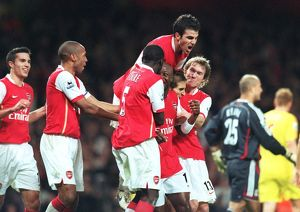 William Gallas celebrates scoring Arsenal's 3rd goal with Thierry Henry