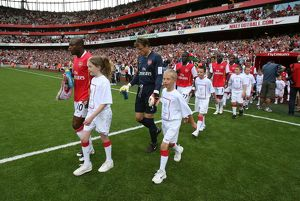 William Gallas and Jens Lehmann lead out the Arsenal team