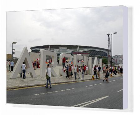 arsenal fans gather around the giant letters