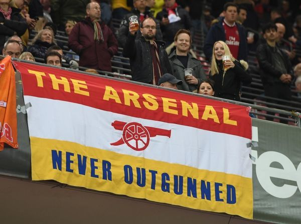 Arsenal fans flags in the stadium before the match. FC Koln 1:0 Arsenal. UEFA Europa Cup