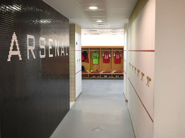 LONDON, ENGLAND - AUGUST 17: The Arsenal changing room before the Premier League match between Arsenal FC and Burnley FC at Emirates Stadium on August 17, 2019 in London, United Kingdom. (Photo by Stuart MacFarlane/Arsenal FC via Getty Images)