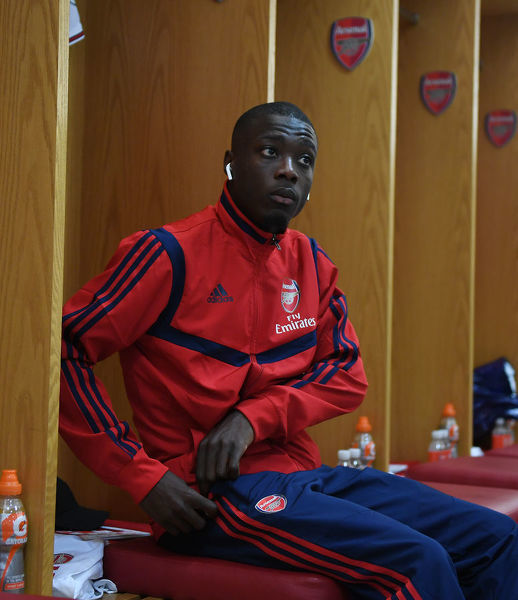 LONDON, ENGLAND - AUGUST 17: Nicolas Pepe in the Arsenal changing room before the Premier League match between Arsenal FC and Burnley FC at Emirates Stadium on August 17, 2019 in London, United Kingdom